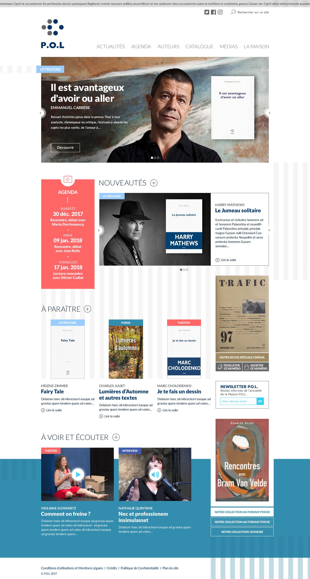 Page d'accueil des éditions P.O.L.