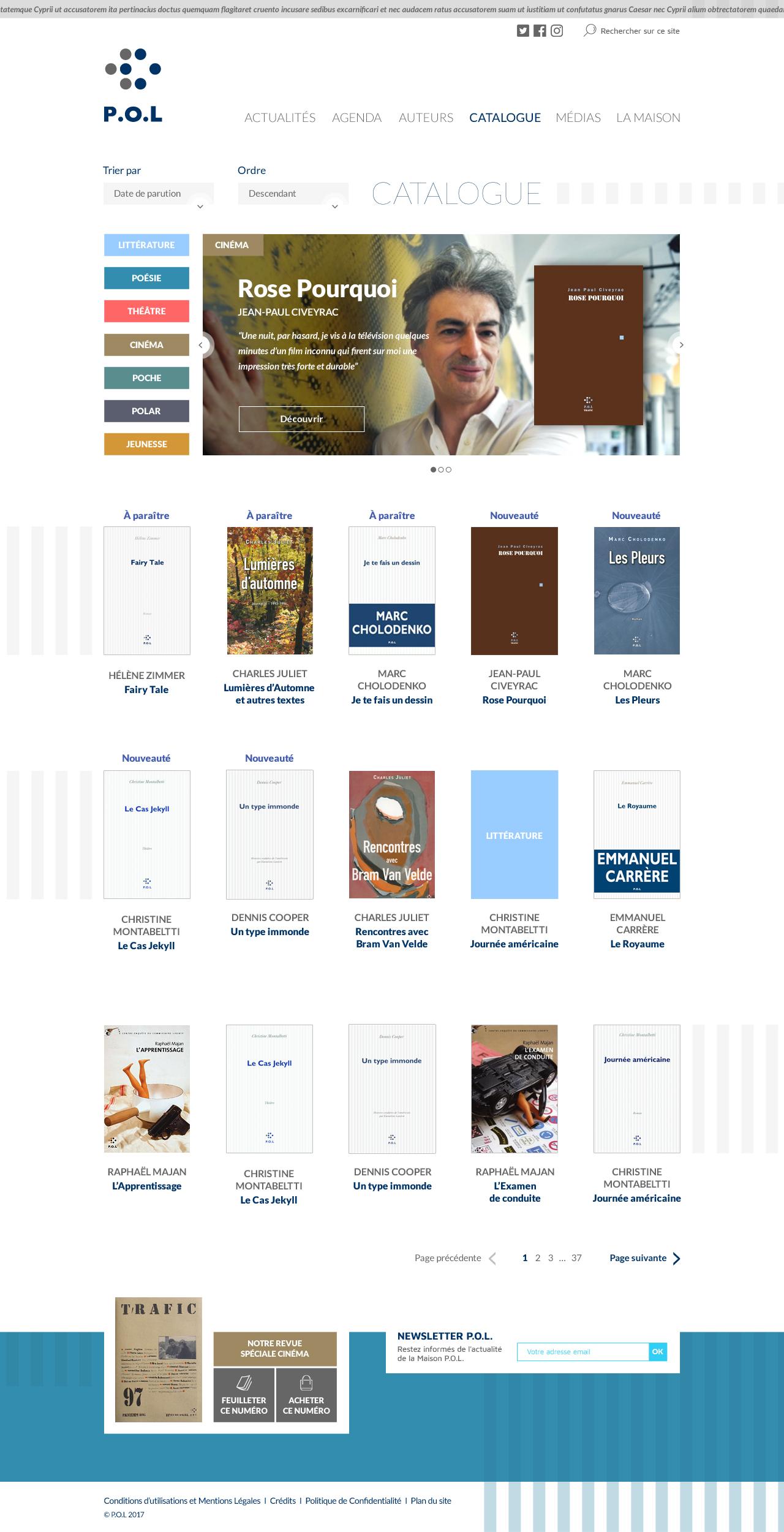 Page catalogue des éditions P.O.L.