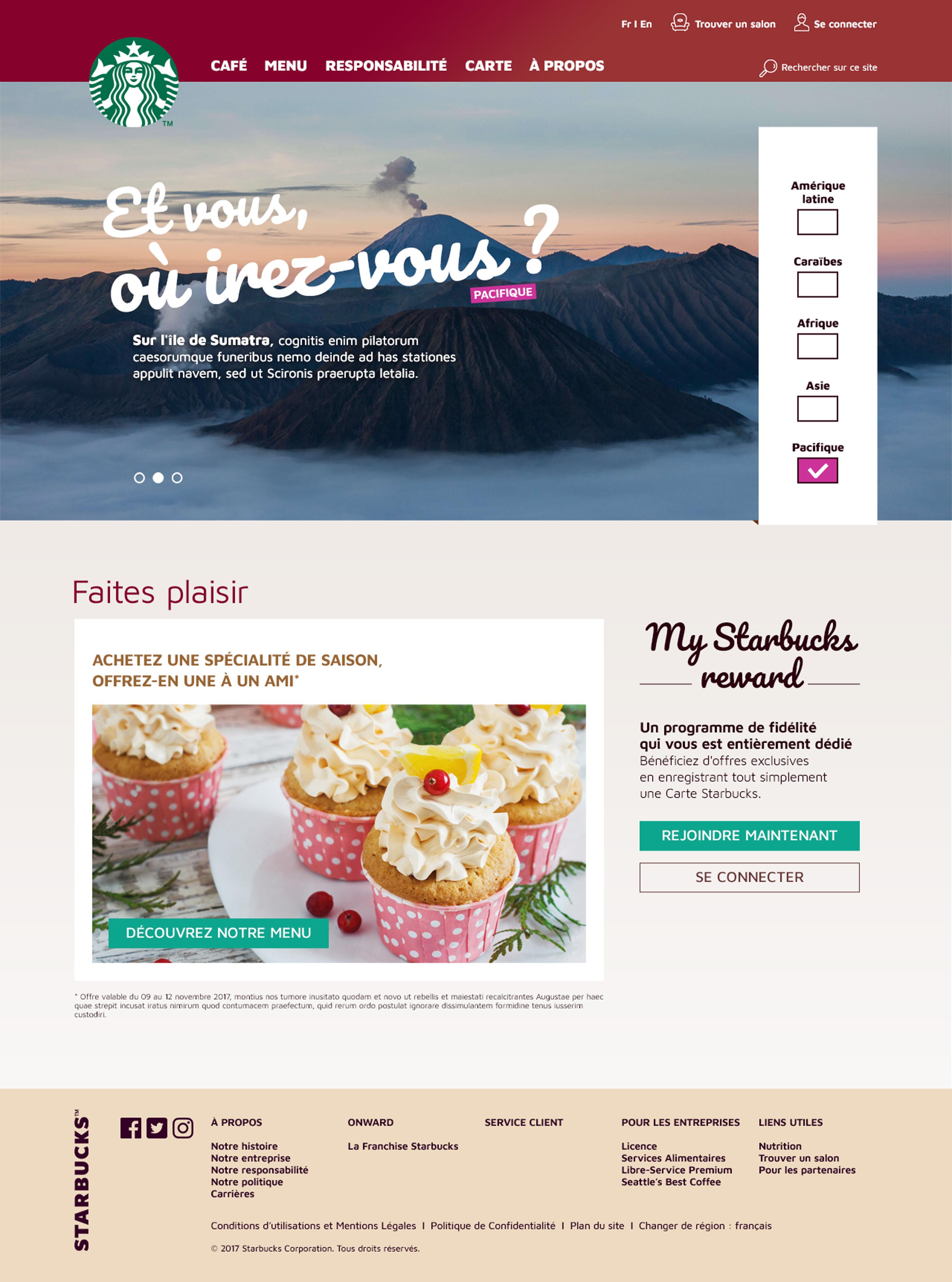 Page d'accueil du site Starbucks