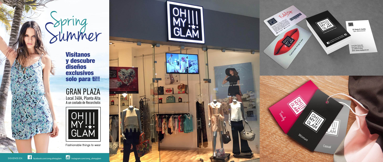Création d'un logo et de ses applications pour Oh My Glam!!! Revendeur de prêt-à-porter féminin.