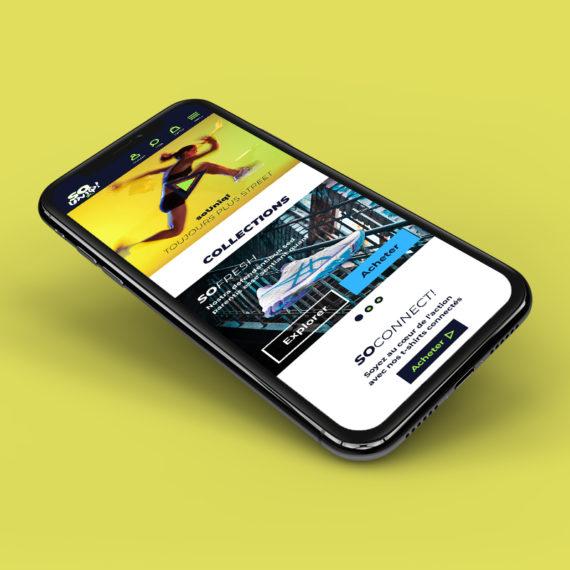 Proposition de logo et site pour soUniq!, marque fictive de vêtements de sport.